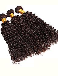 3pcs Brazilian Hair Bundles Weaves Dark Brown Kinky Curl Hair Weft 100% Unprocessed Brazilian Human Hair Weft