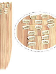 "Cheap Hair Straight Clip in Hair Extensions 22"" 7pieces Synthetic Fiber #27/613 Mix Color Womem Hair"