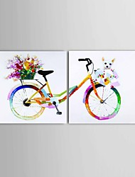 Hand-Painted Abstract Color Art Bicycles And Puppies Oil Painting Canvas 2 Panel Ready To Hang