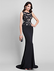 Mermaid / Trumpet Scoop Neck Sweep / Brush Train Jersey Formal Evening Dress with Appliques by TS Couture®