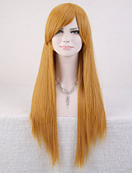 Capless Yellow Color High Quality Natural Straight Synthetic Wig