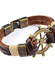 Lederen armbanden 1 stuks,Modieus Bruin Leder / Titanium Staal Sieraden Gifts