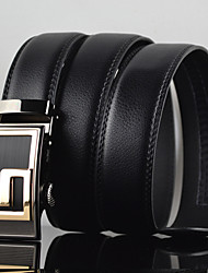 Men G Latter Business Automatic Buckle Leather Wide Belt,Work / Casual