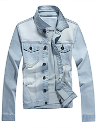 Herren Jacke Einfarbig Freizeit Baumwolle Lang-Blau