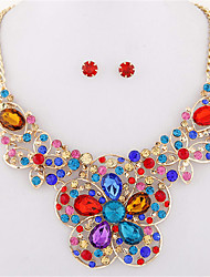 European Style Fashion Metal Shiny Bright Gemstone Flower Necklace Earring Sets