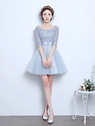 Short / Mini Tulle Bridesmaid Dress - A-line Scoop with Bow(s)