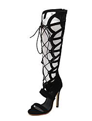 Damen-High Heels-Lässig-Vlies-StöckelabsatzSchwarz