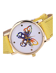 Women's Butterfly Case Leather Band Analog Quartz Watch Wrist Watch