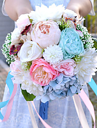 """Wedding Flowers Round Peonies Bouquets Wedding Multi-color Dried Flower 18.9""""(Approx.48cm)"""