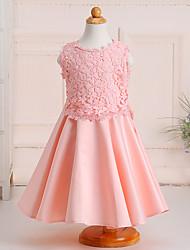 A-line Knee-length Flower Girl Dress-Lace / Satin Sleeveless