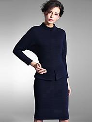 Baoyan® Damen Rundhalsausschnitt 3/4 Ärmel Über dem Knie Kleid-150619