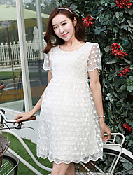 Round Neck Lace Maternity Dress,Polyester Above Knee Sleeveless