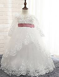 Ball Gown Floor-length Flower Girl Dress - Rayon Long Sleeve Jewel with