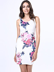 Women's Print Bodycon Crew Neck Micro Elastic Sleeveless Above Knee Plus Size Dress