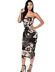 Women's Casual/Daily Vintage Mesh Slim Backless Sheath Dress,Print Strapless Midi Sleeveless