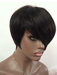 Brazilian Human Hair Short Cut 8inch None Bob Lace Wigs with Bangs for Black Women