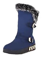 Damen-Stiefel-Lässig-Vlies-Flacher Absatz-Modische Stiefel-Schwarz / Blau