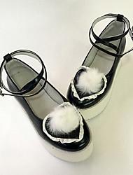 Schuhe Niedlich Lolita Keilabsatz Schuhe einfarbig 7 CM Schwarz Für Damen Leder