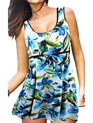 Womens Plus Size Stretch Fabric One Piece Swimdress(S-4XL)