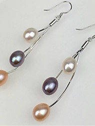 S925 silver long tassel Freshwater Pearl Earrings