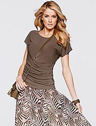 Damen Patchwork Einfach / Street Schick Ausgehen T-shirt,Rundhalsausschnitt Sommer Kurzarm Weiß / Gelb Polyester Mittel