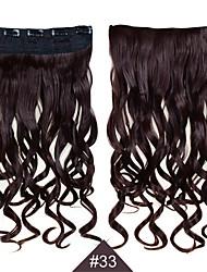 Clip In 1pc sintetica donne capelli 24inch 60 centimetri estensioni dei capelli ricci lunghi grande onda # 33 il colore dei capelli