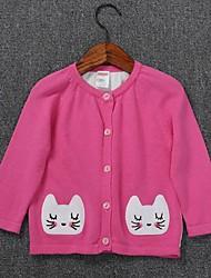 Pull & Cardigan Fille de Imprimé Décontracté / Quotidien Coton Automne Bleu / Rouge