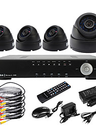 Ultra 4CH D1 Realtime H.264 600TVL High Definition CCTV DVR Kit (4 stuks Dag Nacht Dome CMOS camera's)