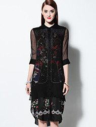 Boutique S Women's Going out Vintage Lace Dress,Sleeve Black Silk Spring / Summer