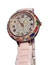 Women's Fashion Watch Casual Watch Quartz Japanese Quartz Ceramic Band Sparkle Rose Gold