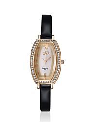 jewelora Mulheres Relógio de Moda Quartzo Resistente ao Choque Couro Banda Vintage Preta Preto