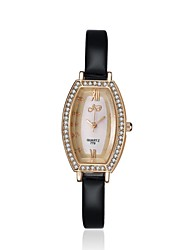 2016 Luxury Noble Fashion Quartz Diamond Rose Gold Case Black Leather Women Watches