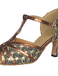 Customizable Women's Dance Shoes Latin/Ballroom Leatherette/Sparkling Glitter Customized Heel Silver
