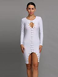 Women's Sexy / Simple Solid Hollow Out Slim Irregular Bodycon / Sheath Dress,Round Neck Mini