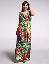 Women's Beach / Plus Size Boho Chiffon Dress,Floral Deep V Maxi Sleeveless Green Polyester / Spandex Summer