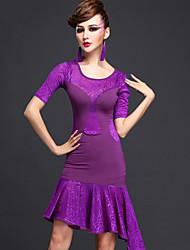 Latin Dance Dresses Women's Performance Chinlon / Tulle 2 Pieces Black / Purple / Blue Latin Dance Short Sleeve Natural