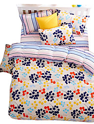 Floral Pattern Polyester 4PC Duvet Cover Sets,Queen Size,King Size