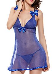 Para Mujer Babydoll y Slip Ropa de dormir,Sexy Malla Azul