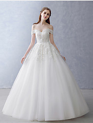 A-line Wedding Dress Floor-length Off-the-shoulder Tulle with Appliques / Beading / Pearl / Sash / Ribbon