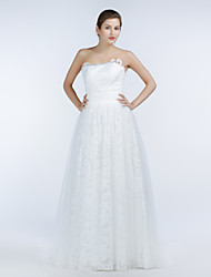 A-line Wedding Dress Floor-length Strapless Lace / Satin / Tulle with Criss-Cross / Sash / Ribbon