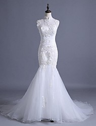 Trumpet / Mermaid Wedding Dress Court Train High Neck Lace / Tulle with Appliques / Beading