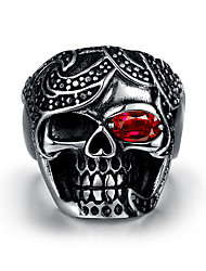 Fashion jewelry Men's ring The ancient Maya Punk skulls red zircon 316 l steel ring for party GMYR236