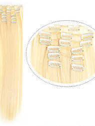 "22""(60cm) 7pcs #613 Blonde Clip in Hair Extensions Long Blonde Hair Fiber Synthetic Hair Blonde Hair Extention"