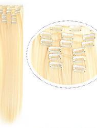 """22 """"(60cm) 7pcs # 613 clip blonde dans les extensions de cheveux longs fibres de cheveux blonds cheveux synthétiques cheveux blonds de"""