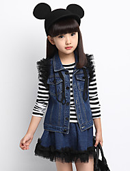 Girl's Casual Striped Denim Stitching Tulle Clothing Set(Tee & Denim Vest & Skirt)