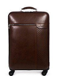 Unisex Cowhide Outdoor Luggage Brown