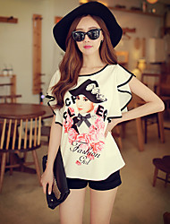 Pink Doll® Women's Ruffles Short Sleeve Round Neck Shirt & Blouse White-X15BST052