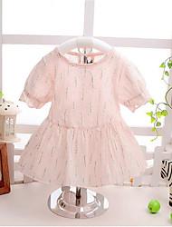 Girl's Green / Pink Dress,Striped Cotton Summer