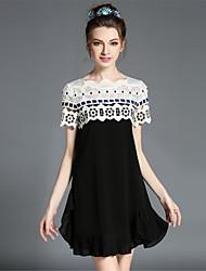 Women's Elegant Fashion Lace Hollow Patchwork Pleat Ruffle Loose A Line Plus Size Dress