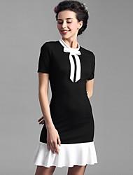 Baoyan® Женский Круглый вырез Короткие Midi Платья-160178